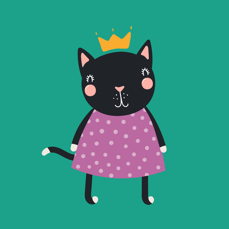 Hand drawn vector illustration of a cute funny cat girl in a dress and crown. Isolated objects. Scandinavian style flat design. Concept for children print.