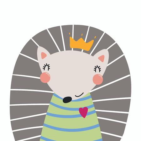 손으로 그린 셔츠와 왕관에 귀여운 재미있는 고슴도치의 벡터 일러스트 레이 션. 고립 된 개체. 스칸디나비아 스타일의 평면 디자인. 어린이를위한 개념 인쇄. 스톡 콘텐츠 - 98359807