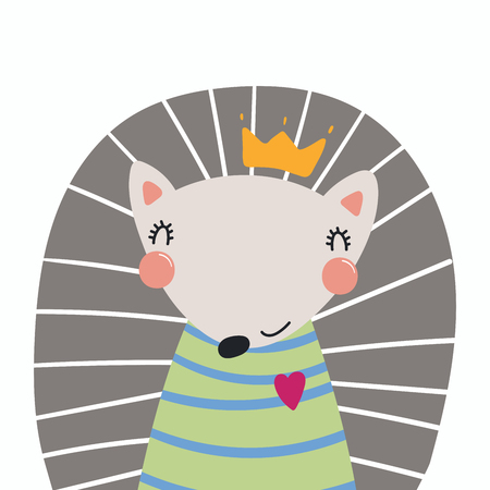Hand drawn vector illustration of a cute funny hedgehog in a shirt and crown. Isolated objects. Scandinavian style flat design. Concept for children print.