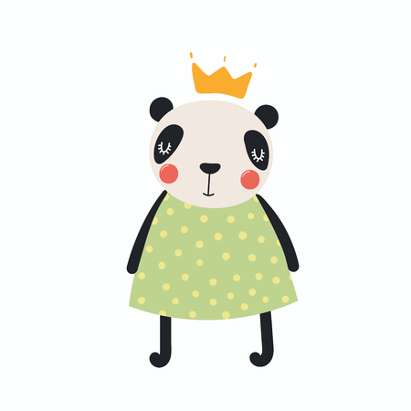 Hand drawn vector illustration of a cute funny panda girl in a dress and crown. Isolated objects. Scandinavian style flat design. Concept for children print.