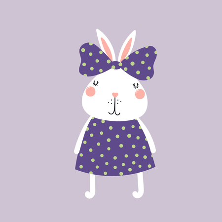 Hand drawn vector illustration of a cute funny bunny girl in a dress, with a ribbon Isolated objects. Scandinavian style flat design. Concept for children print. Illustration