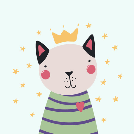 Hand drawn vector illustration of a cute funny cat in a shirt and crown, with stars. Isolated objects. Scandinavian style flat design. Concept for children print.