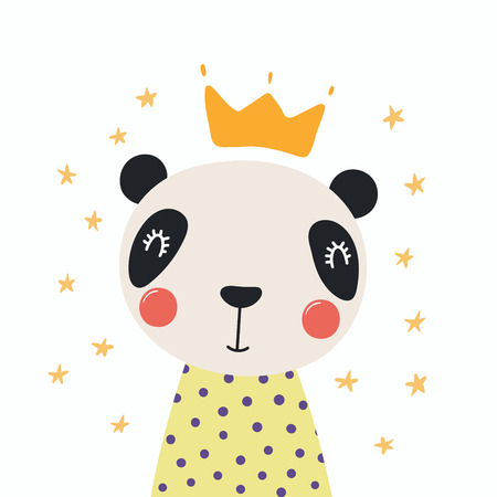 Hand drawn vector illustration of a cute funny panda in a shirt and crown, with stars. Isolated objects. Scandinavian style flat design. Concept for children print.