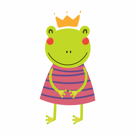 Hand drawn vector illustration of a cute funny frog girl in a dress and crown. Isolated objects. Scandinavian style flat design. Concept for children print. Illustration