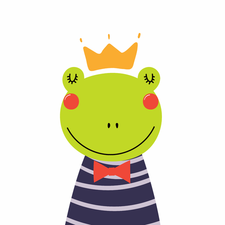 Hand drawn vector illustration of a cute funny frog prince in a shirt and crown. Isolated objects. Scandinavian style flat design. Concept for children print. Illustration