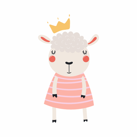 Hand drawn vector illustration of a cute funny sheep girl in a dress and crown. Isolated objects, Scandinavian style flat design. Concept for children print.