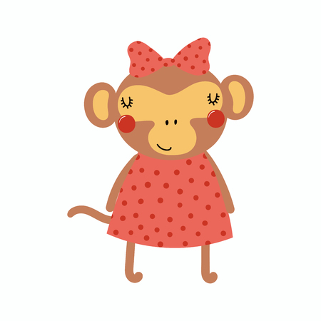 Hand drawn vector illustration of a cute funny monkey girl in a dress, with a ribbon. Isolated objects. Scandinavian style flat design. Concept for children print. Ilustração