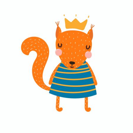 Illustrazione disegnata a mano di vettore di una ragazza di scoiattolo divertente sveglia in un vestito e una corona. Oggetti isolati. Design piatto in stile scandinavo. Concetto per la stampa dei bambini.