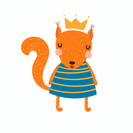 Hand drawn vector illustration of a cute funny squirrel girl in a dress and crown. Isolated objects. Scandinavian style flat design. Concept for children print. Illustration