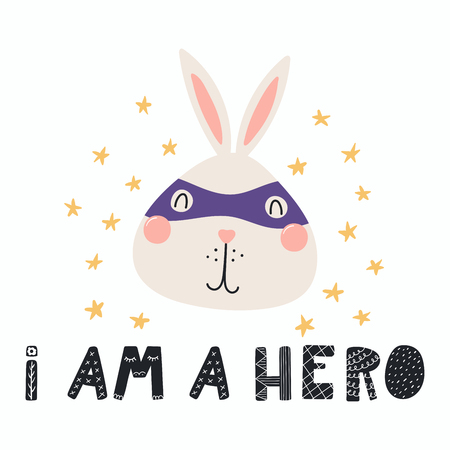 Hand drawn vector illustration of a cute funny bunny in a mask, with lettering quote I am a hero. Isolated objects. Scandinavian style flat design. Concept for children print. Illustration