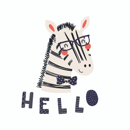 Hand drawn vector illustration of a cute funny zebra in a bow tie and glasses, with lettering quote Hello. Isolated objects. Scandinavian style flat design. Concept for children print. Illustration