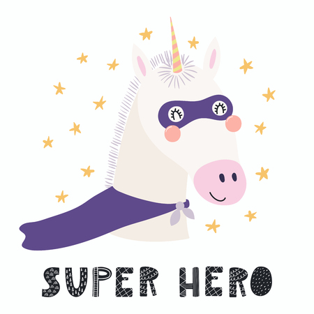 Hand drawn vector illustration of a cute funny unicorn in a mask and cape, with lettering quote Super hero. Isolated objects.