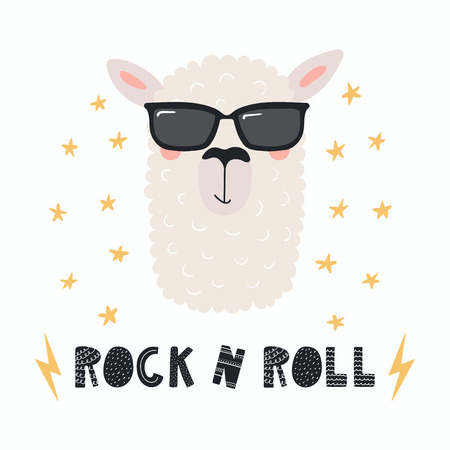 Hand drawn vector illustration of a cute funny llama in a sunglasses, with lettering quote Rock n roll. Isolated objects.