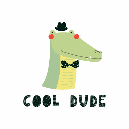 Hand drawn vector illustration of a cute funny zebra in a hat and bow tie, with lettering quote Cool dude. Isolated objects.