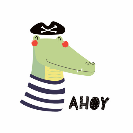 Hand drawn vector illustration of a cute funny crocodile pirate in a hat isolated on plain background.
