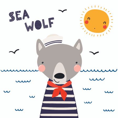 Hand drawn vector illustration of a cute funny wolf sailor in a cap and neckerchief, with lettering quote Sea wolf. Illustration