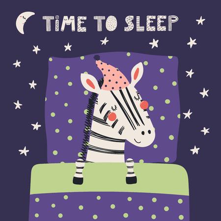Bergeben Sie gezogene Vektorillustration eines netten lustigen schlafenden Zebras in einem Schlummertrunk, mit Kissen, Decke, zitieren Sie Zeit zu schlafen. Isolierte Objekte. Flaches Design im skandinavischen Stil. Konzept für Kinder drucken. Standard-Bild - 98629772