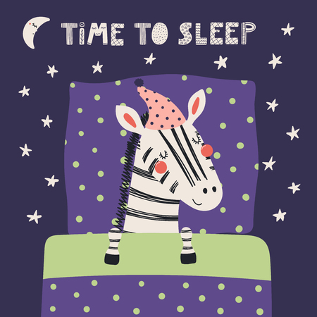 Hand drawn vector illustration of a cute funny sleeping zebra in a nightcap, with pillow, blanket, quote Time to sleep. Isolated objects. Scandinavian style flat design. Concept for children print.