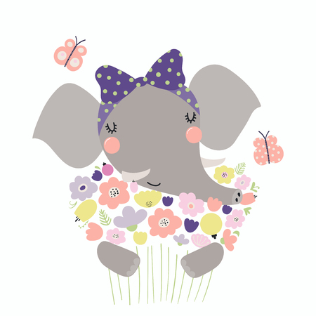 Hand drawn vector illustration of a cute funny elephant holding a bouquet of flowers, with butterflies. Isolated objects. Scandinavian style flat design. Concept for children print.