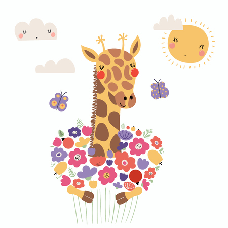 Hand drawn vector illustration of a cute funny giraffe holding a bouquet of flowers, with butterflies, sun, clouds. Isolated objects. Scandinavian style flat design. Concept for children print.