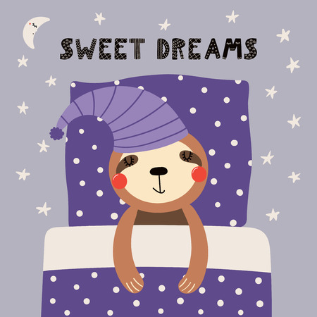 Hand drawn vector illustration of a cute funny sleeping sloth in a nightcap, with pillow, blanket, lettering Sweet dreams. Isolated objects. Scandinavian style flat design. Concept for children print. Vettoriali