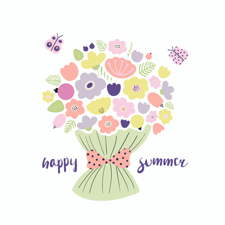Hand drawn vector illustration of a bouquet of flowers, tied with a ribbon, with butterflies, lettering quote Happy summer. Isolated objects. Scandinavian style flat design. Concept for children print Illustration