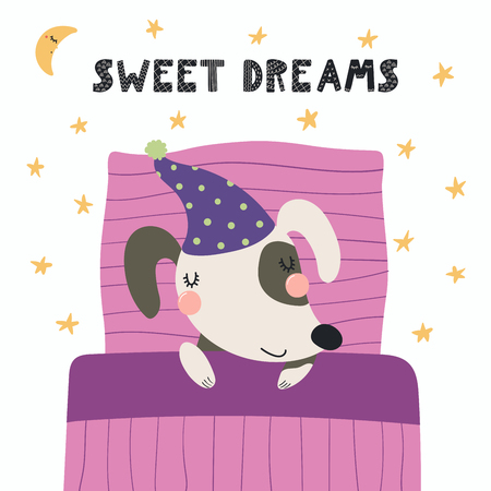 Hand drawn vector illustration of a cute funny sleeping dog in a nightcap, with pillow, blanket, lettering Sweet dreams. Isolated objects. Scandinavian style flat design. Concept for children print. Illustration