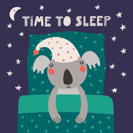 Illustration vectorielle dessinés à la main d'un koala endormi drôle mignon dans un bonnet de nuit, avec oreiller, couverture, citation Temps de sommeil. Objets isolés. Design plat de style scandinave. Concept pour les enfants imprimer. Vecteurs