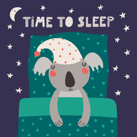 Hand drawn vector illustration of a cute funny sleeping koala in a nightcap, with pillow, blanket, quote Time to sleep. Isolated objects. Scandinavian style flat design. Concept for children print.