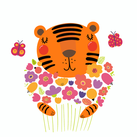 Hand drawn vector illustration of a cute funny tiger holding a bouquet of flowers, with butterflies. Isolated objects. Scandinavian style flat design. Concept for children print.