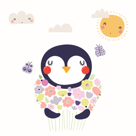 Hand drawn vector illustration of a cute funny penguin holding a bouquet of flowers, with butterflies, sun, clouds. Isolated objects. Scandinavian style flat design. Concept for children print. Illustration