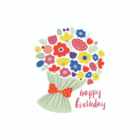 Hand drawn vector illustration of a cute bouquet of flowers, tied with a ribbon, with lettering quote Happy birthday. Isolated objects. Scandinavian style flat design. Concept for children print.