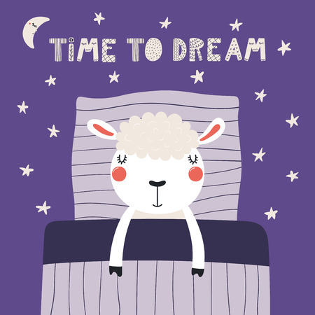 Hand drawn vector illustration of a cute funny sleeping sheep, with pillow, blanket, lettering quote Time to dream. Isolated objects. Scandinavian style flat design. Concept for children print.