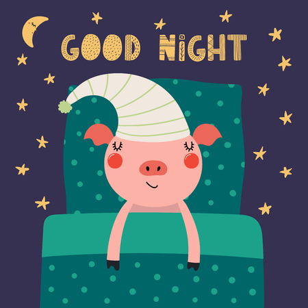 Hand drawn vector illustration of a cute funny sleeping pig in a nightcap, with pillow, blanket, lettering quote Good night. Isolated objects. Scandinavian style flat design. Concept children print. Illustration