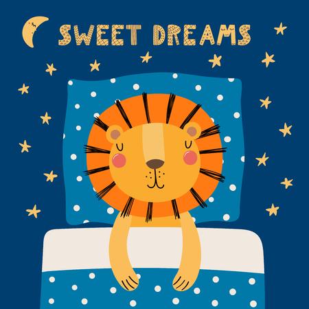 Hand drawn vector illustration of a cute funny sleeping lion 일러스트