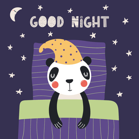 Hand drawn vector illustration of a cute funny sleeping panda in a nightcap, with pillow, blanket, lettering Good night. Isolated objects. Scandinavian style flat design. Concept for children print.