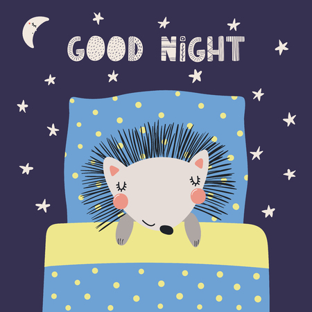 Hand drawn vector illustration of a cute funny sleeping hedgehog, with pillow, blanket, lettering quote Good night. Isolated objects. Scandinavian style flat design. Concept for children print.