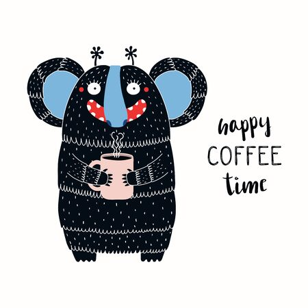 Hand drawn vector illustration of a cute funny monster holding a mug cup, with lettering quote Happy coffee time. Isolated objects on white background. Illustration
