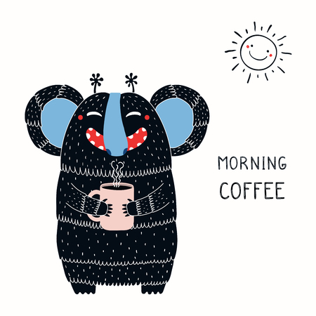 Hand drawn vector illustration of a cute funny monster holding a mug cup, with lettering quote Morning coffee.