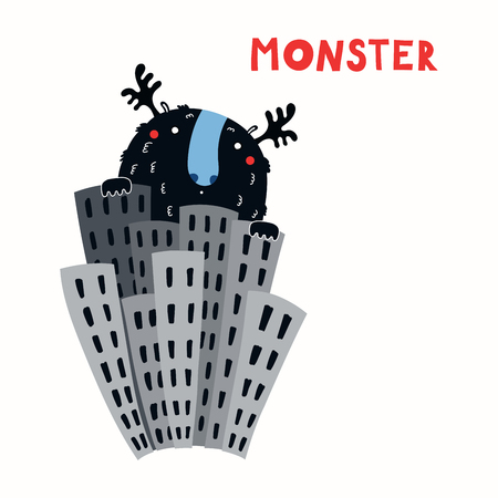 Hand drawn vector illustration of a huge funny monster in the city among the skyscrapers, with lettering quote. Isolated objects on white background. Concept for children print. 向量圖像