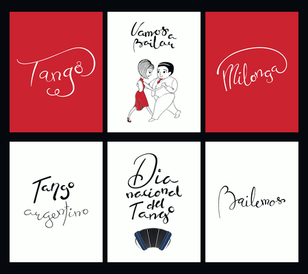 Set of tango cards templates with hand written lettering quotes, design elements, tr. from Spanish Lets dance, National Tango Day. Vector illustration. Design concept social dance. Иллюстрация