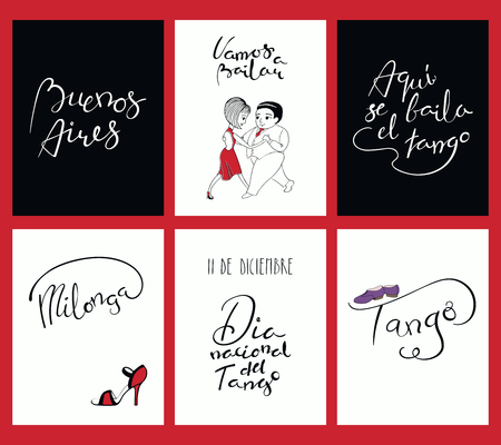 Set of tango cards templates with hand written lettering quotes, design elements, tr. from Spanish Lets dance, Tango is danced here, National Tango Day. Vector illustration. Design for social dance.