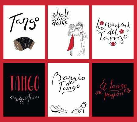 Set of tango cards templates with hand written lettering quotes, design elements, tr. from Spanish Tango city, Tango district, Tango is my passion. Vector illustration. Design concept social dance.
