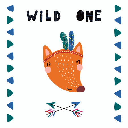 Hand drawn vector illustration of a cute funny tribal fox with feathers, lettering quote Wild one. Isolated objects. Scandinavian style flat design. Concept for children print. Illustration