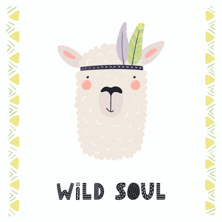 Hand drawn vector illustration of a cute funny tribal llama with feathers, lettering quote Wild soul. Isolated objects. Scandinavian style flat design. Concept for children print.