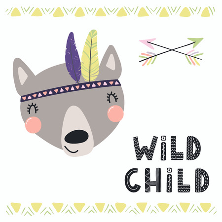 Hand drawn vector illustration of a cute funny tribal wolf with feathers, lettering quote Wild child. Isolated objects. Scandinavian style flat design. Concept for children print.