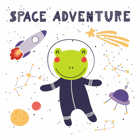 Hand drawn vector illustration of a cute funny frog in space, with rocket, ufo, comet, lettering quote Space adventure. Isolated objects. Scandinavian style flat design. Concept for children print.