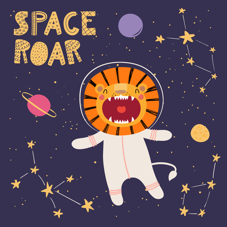Hand drawn vector illustration of a cute funny lion in space, with planets, constellations, lettering quote Space roar. Isolated objects. Scandinavian style flat design. Concept for children print.  イラスト・ベクター素材