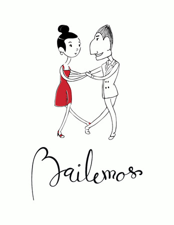 Hand written lettering quote Bailemos in Spanish, tr. Lets dance, with dancing couple. Isolated objects on white background.