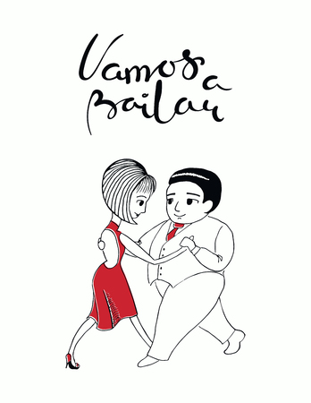 Hand written lettering quote Vamos a bailar in Spanish, tr. Lets dance, with dancing couple. Isolated objects on white background. Vector illustration. Design concept for t-shirt print, poster, card.